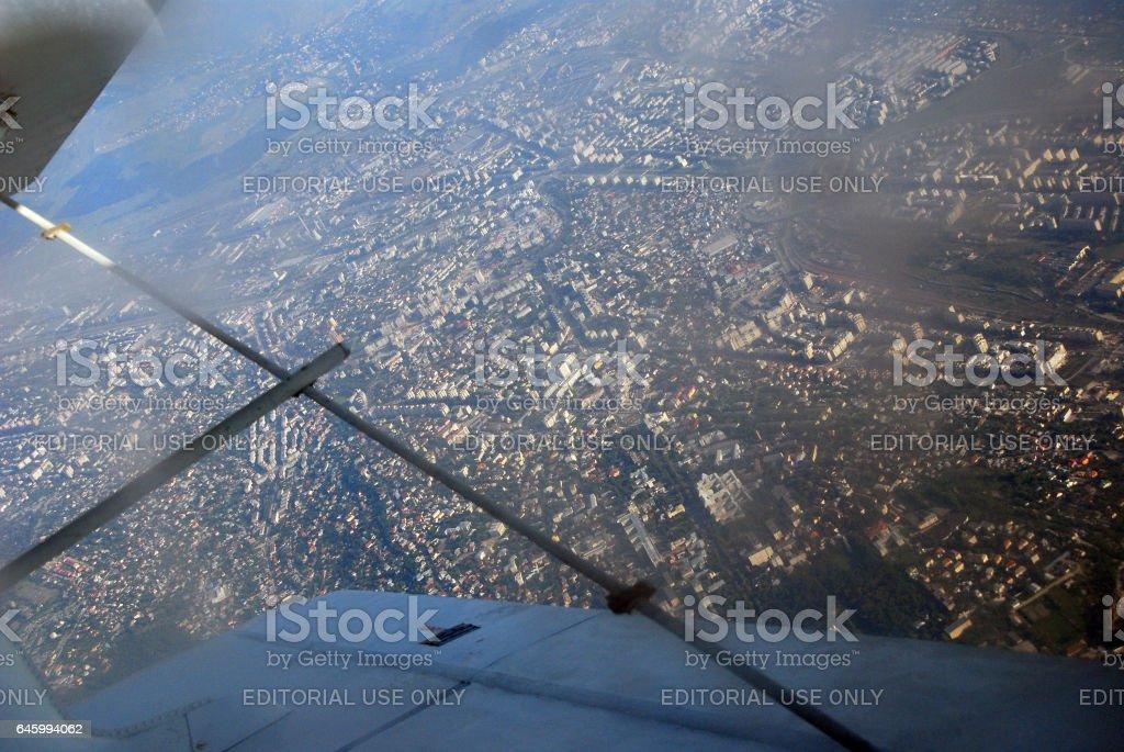 Airplane view over the city of Iasi, Romania stock photo