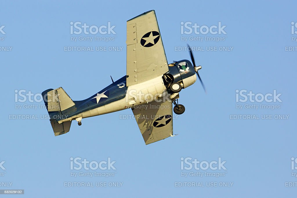 Airplane Vintage WWII Navy fighter stock photo
