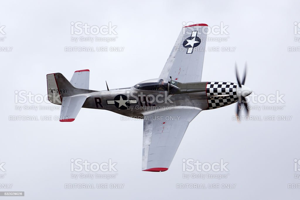 Airplane Vintage WWII P-51 Mustang fighter stock photo