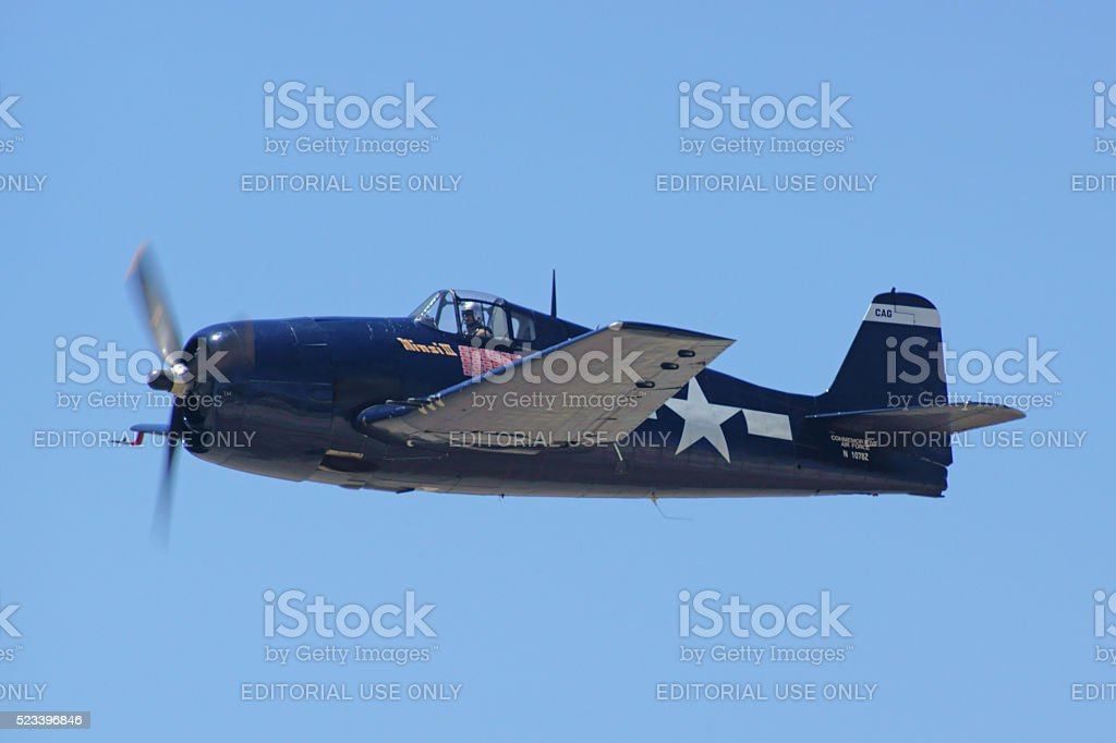 Airplane vintage WWII Wildcat fighter stock photo