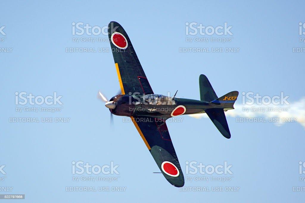 Airplane vintage WWII Zero fighter stock photo