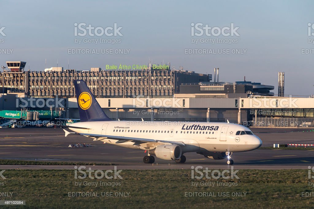 Airplane waiting in the queue for takeoff at Dublin Airport stock photo