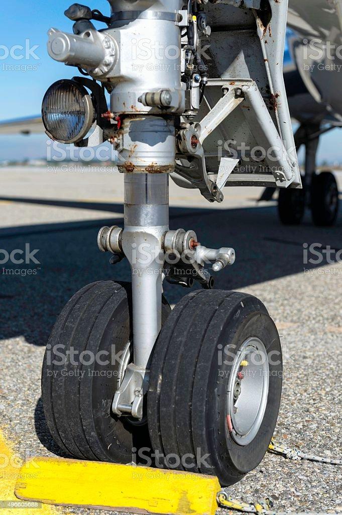 Airplane wheel detail stock photo