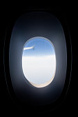 Airplane window - see the wing flying
