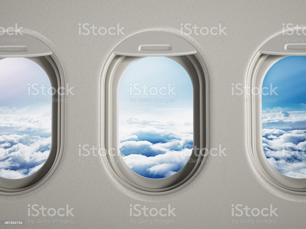 Airplane windows stock photo