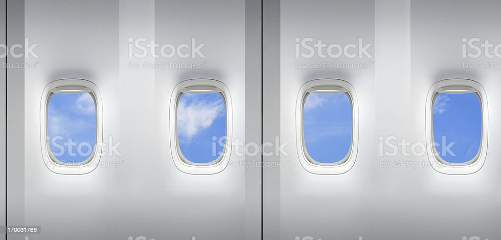Airplane windows repeating pattern stock photo