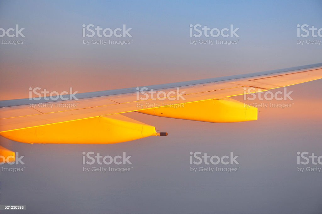 Airplane wing at sunset, Istanbul, Turkey stock photo