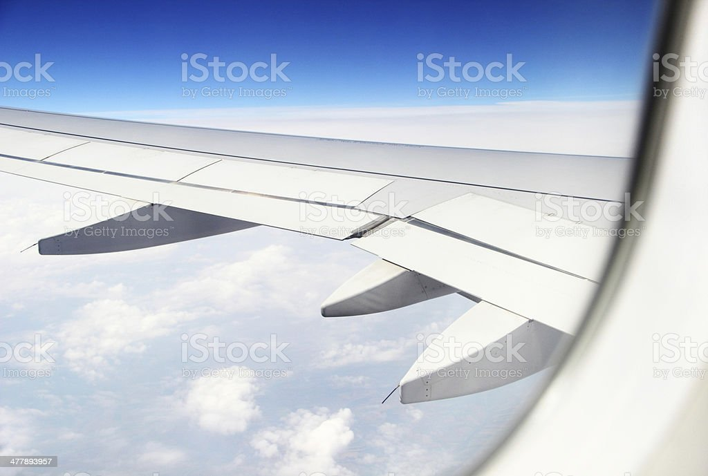 Airplane wing during flight. royalty-free stock photo
