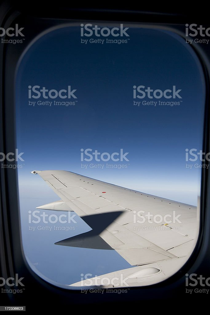 Airplane Wing from Window, Nobody, Copy Space royalty-free stock photo