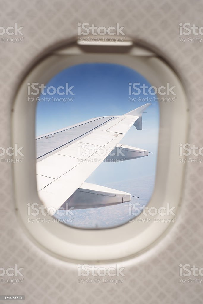 Airplane Wing from Window royalty-free stock photo
