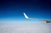 Airplane wing in flight above clouds