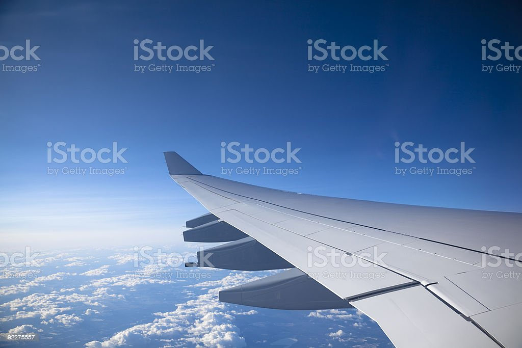 airplane wing stock photo