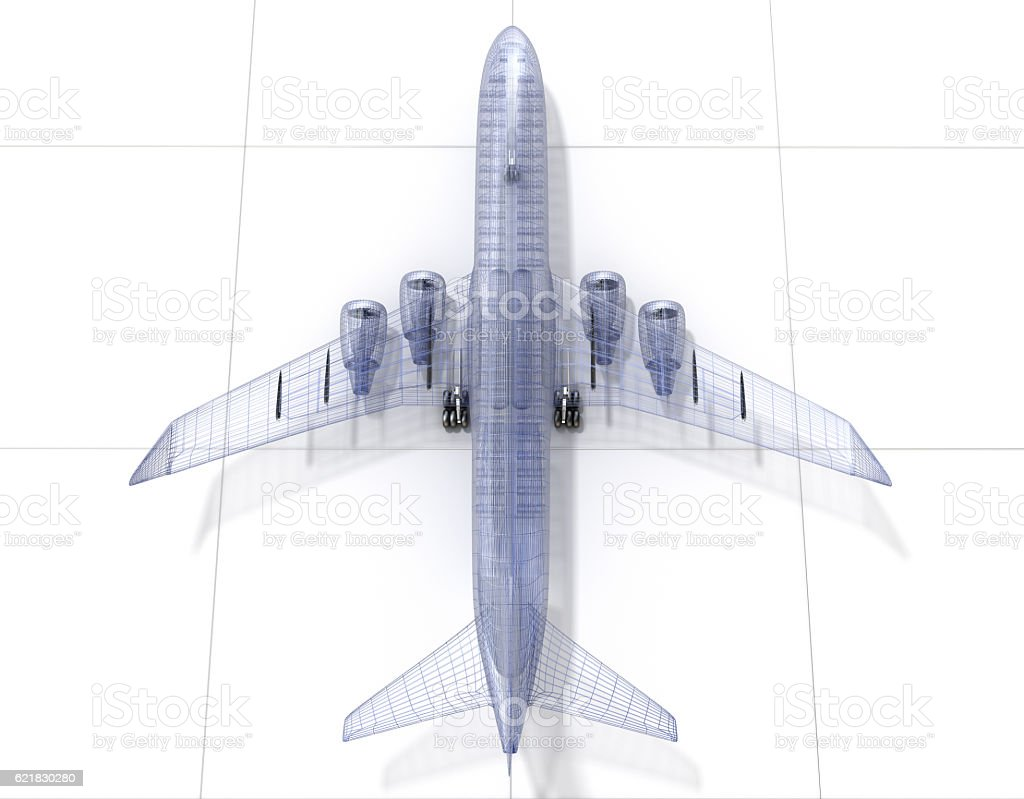 Airplane wire model , isolated on white. 3D illustration stock photo