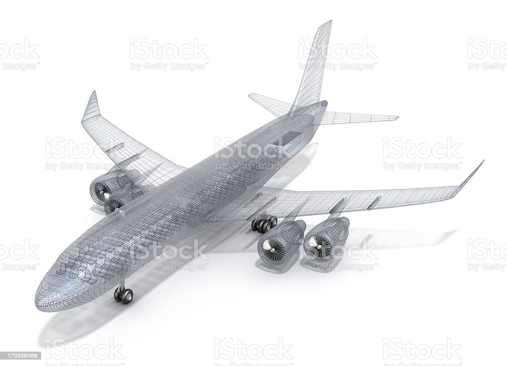 Airplane wire model , isolated on white stock photo
