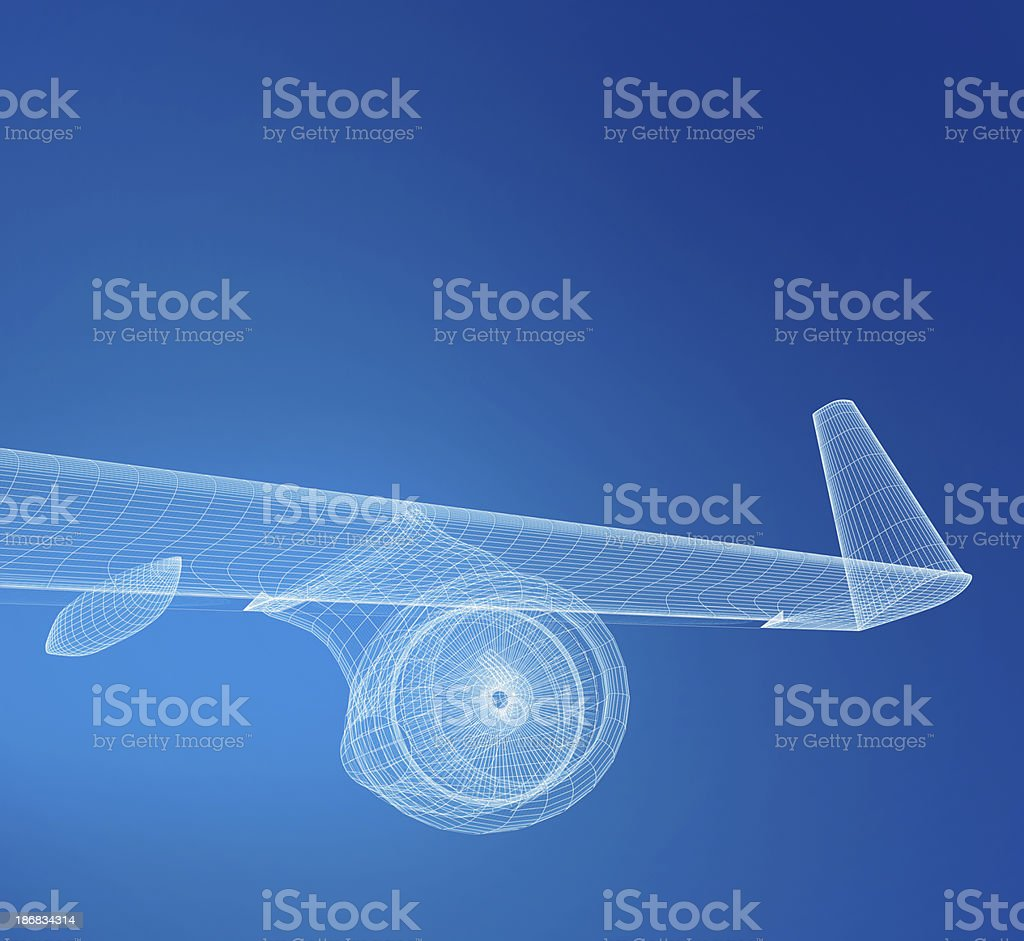 Airplane Wireframe stock photo