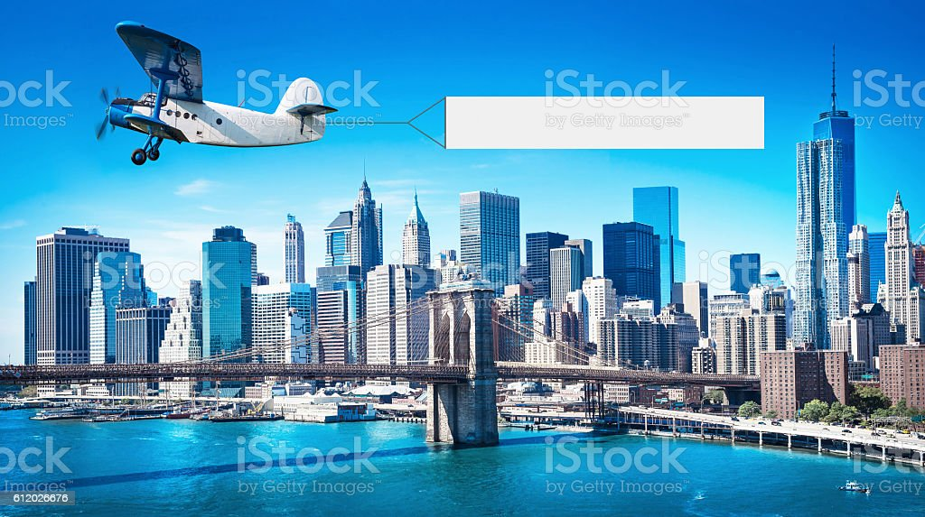 airplane with a banner stock photo