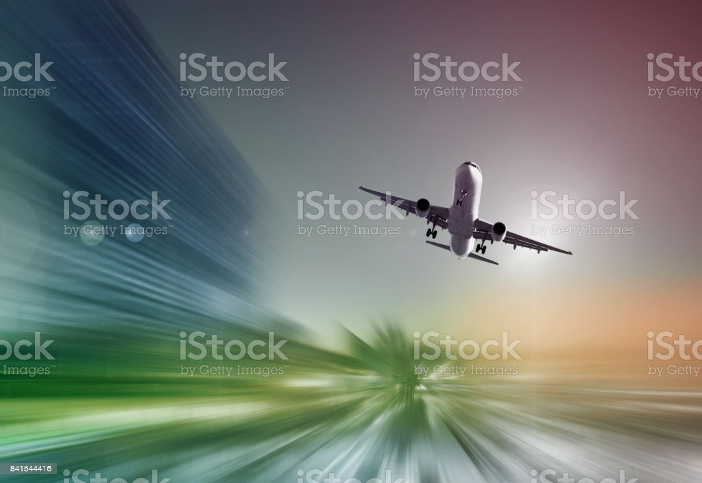 Airplane with blur abstract background stock photo
