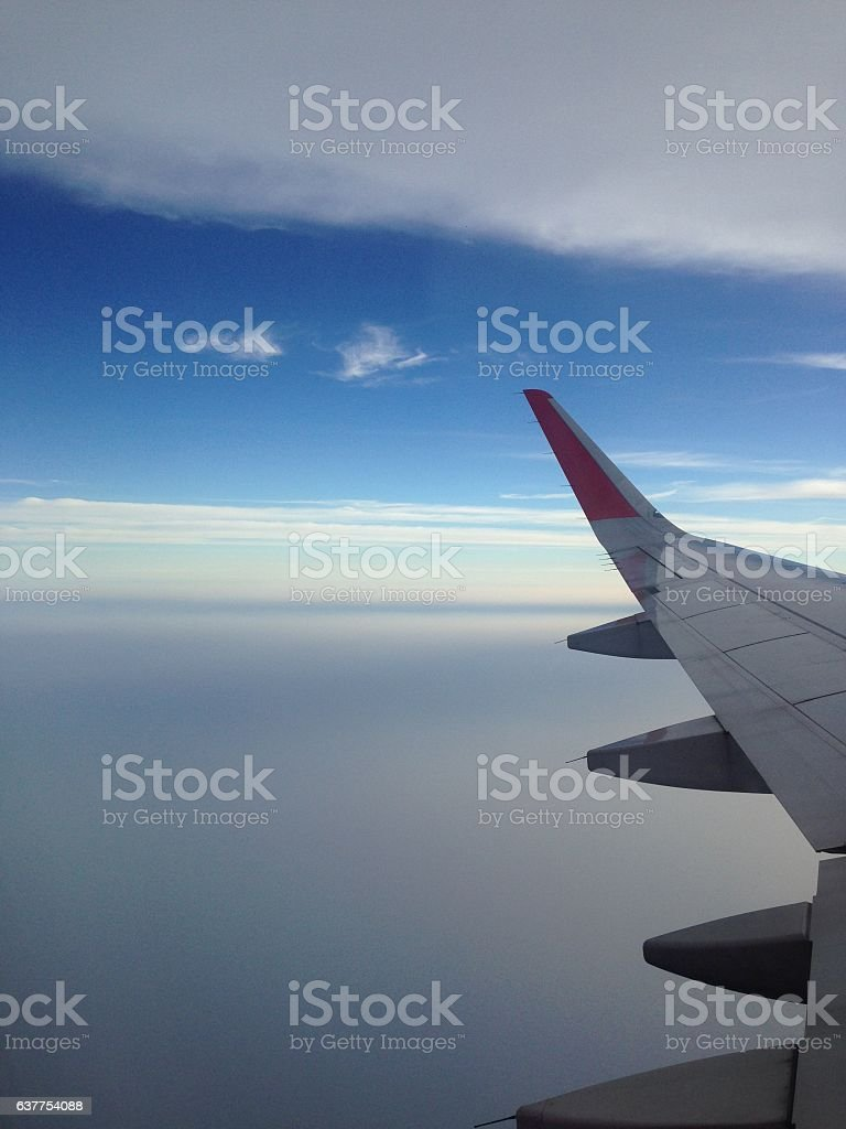 airplane with cloud stock photo