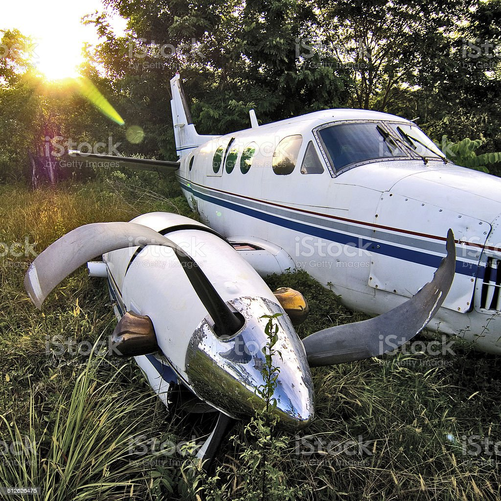 Airplane wreck stock photo