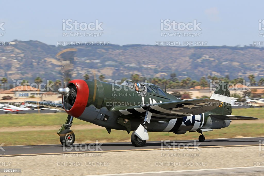 Airplane WWII P-47 Thunderbolt on runway stock photo