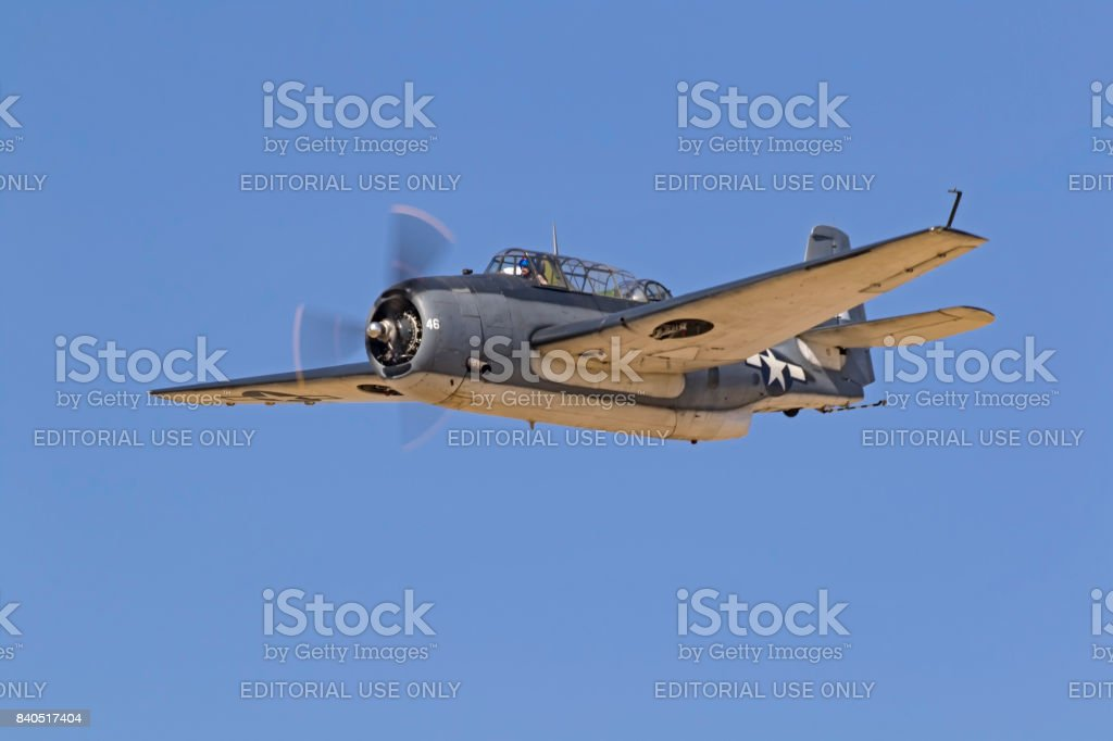 Airplane WWII TBM Avenger aircraft stock photo