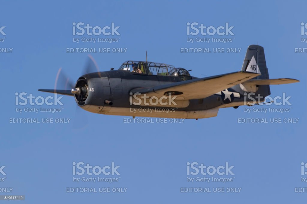 Airplane WWII TBM Avenger dive bomber aircraft flying at the airshow stock photo
