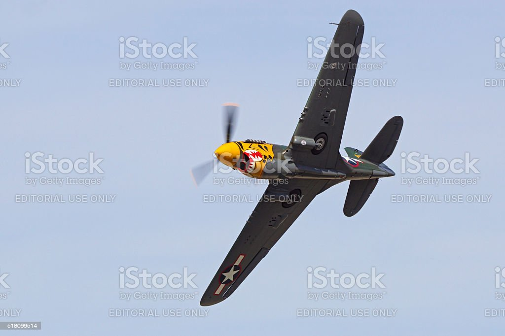 Airplane WWII vintage P-40 Warhawk stock photo