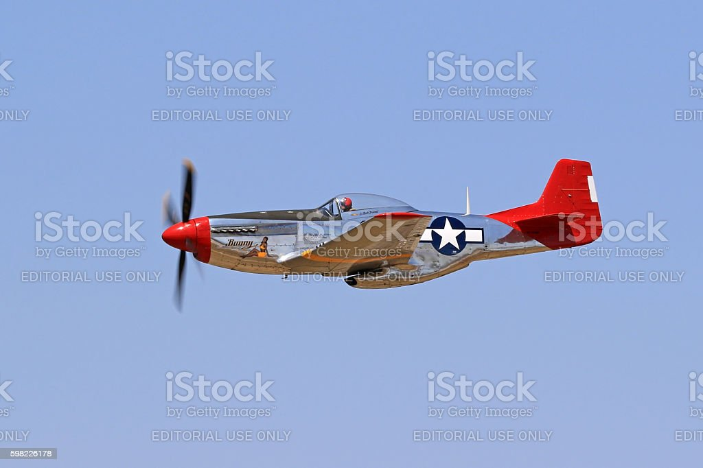Airplane WWII vintage P-51 Mustang stock photo