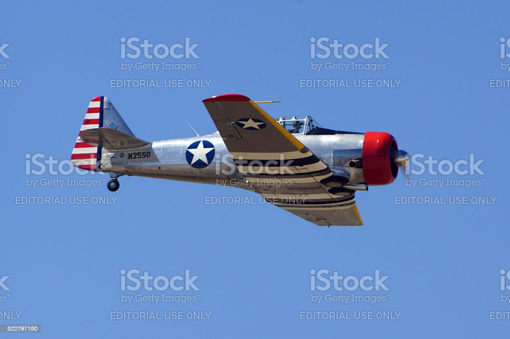 Airplane WWII vintage T-6 trainer stock photo