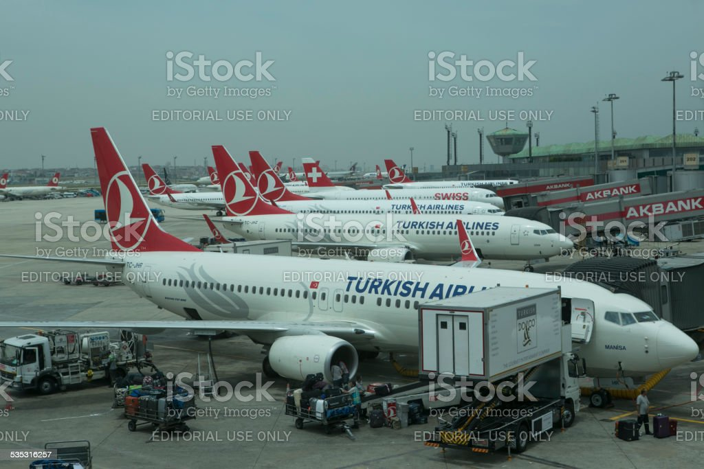 Airplanes at ataturk airport istanbul turkey stock photo