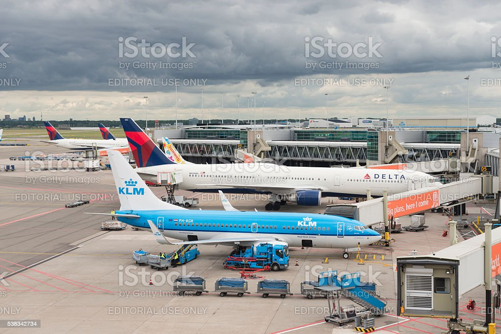 Airplanes at Schiphol Airport Amsterdam stock photo