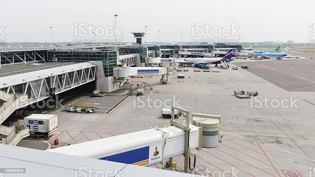 Airplanes at Schiphol Airport stock photo