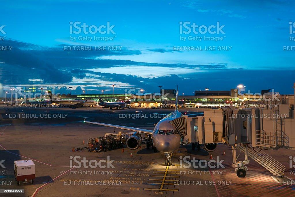 Airplanes at Singapore Changi Airport International terminal stock photo