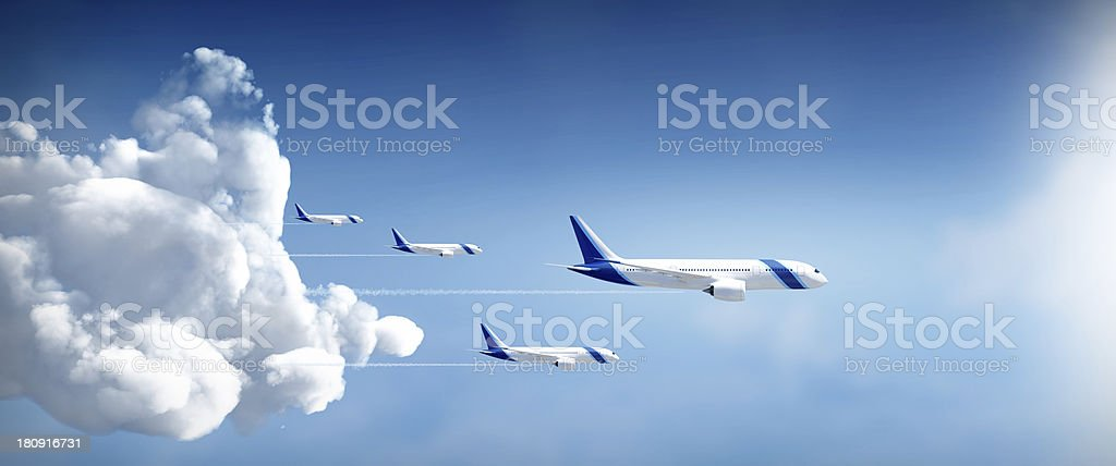 Airplanes fly away royalty-free stock photo