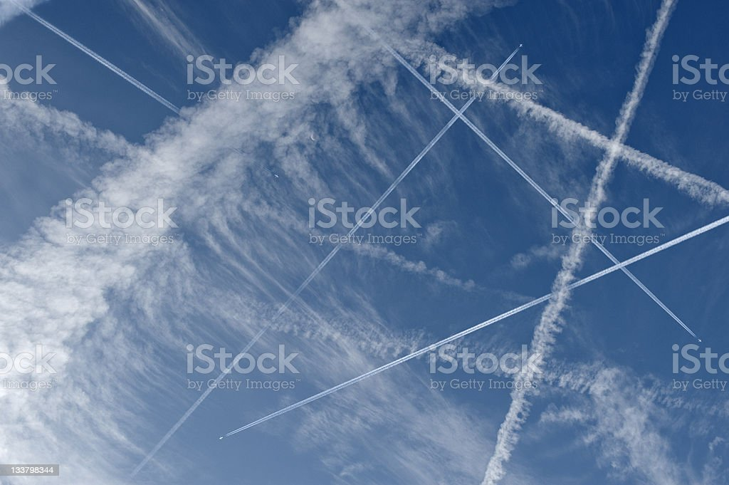 airplanes flying stock photo