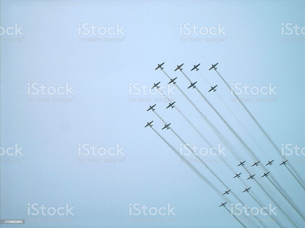 Airplanes in a flight formation royalty-free stock photo