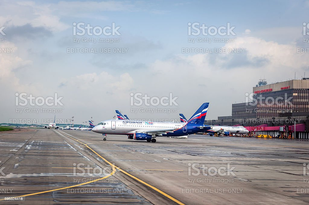 Airplanes in Sheremetyevo International Airport Moscow ,Russia. stock photo