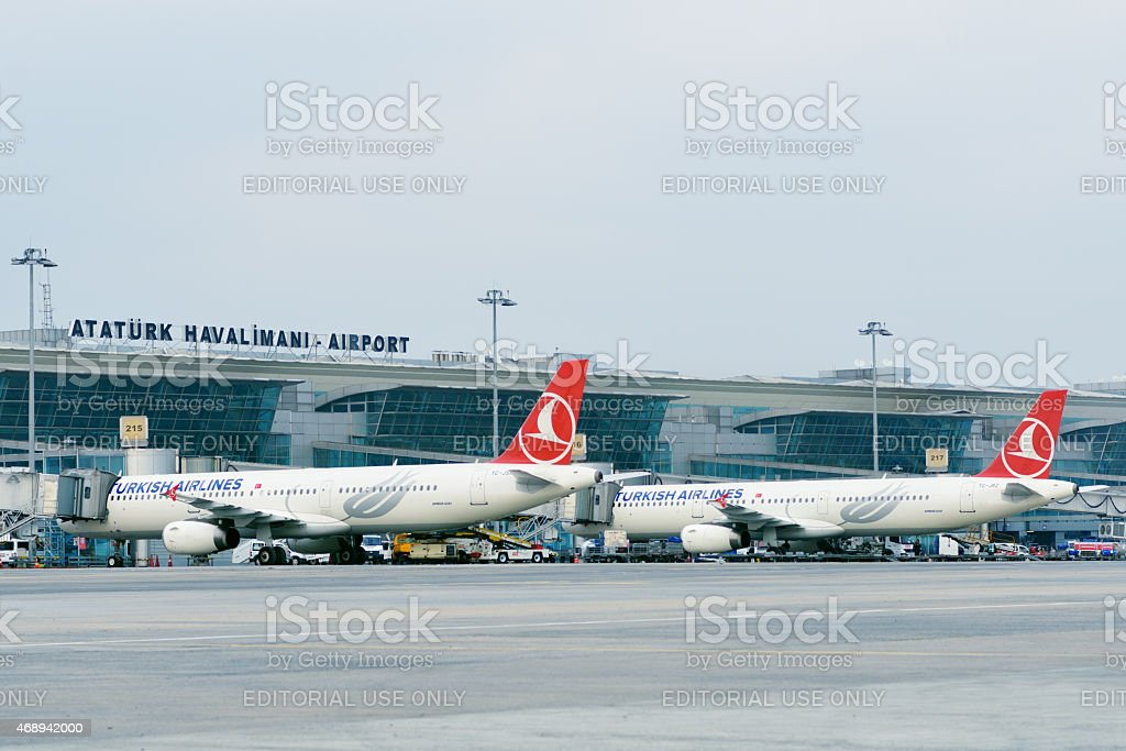 Airplanes in the Ataturk airport, Istanbul, Turkey stock photo