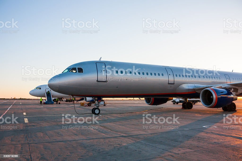 Airplanes in the morning the airport apron royalty-free stock photo