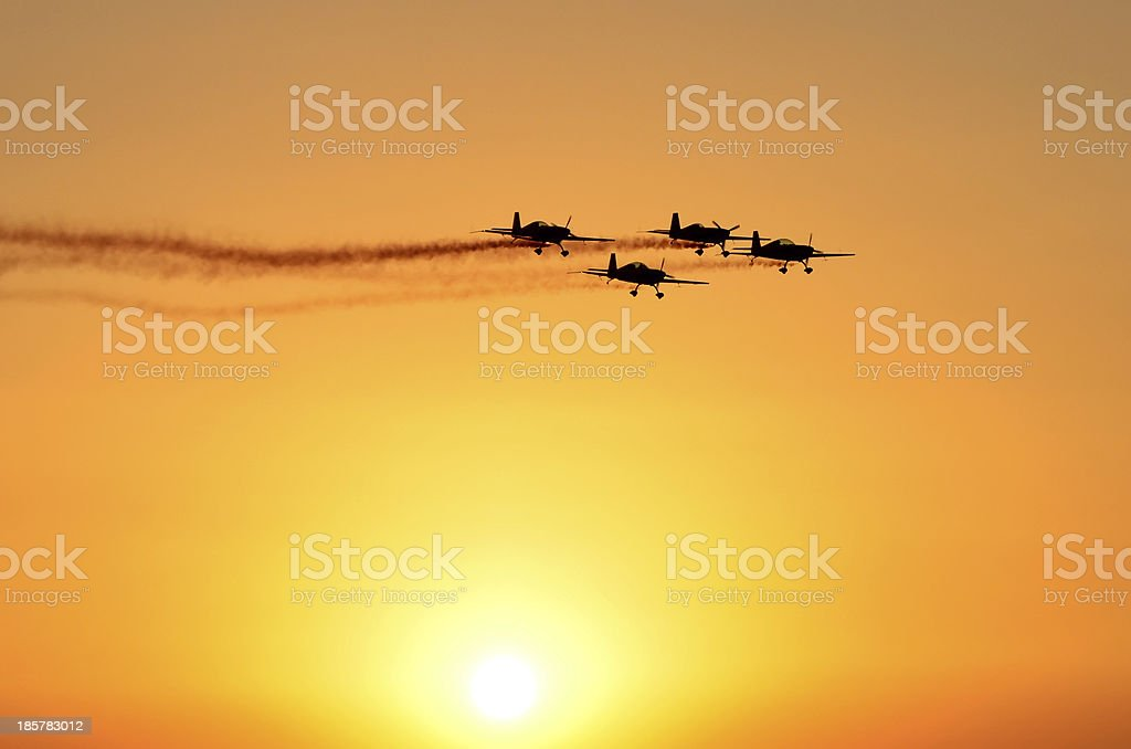 Airplanes in the sunset royalty-free stock photo