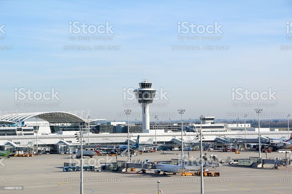 Airplanes loading at airport Munich stock photo