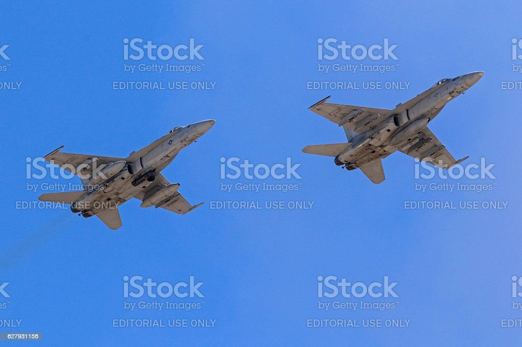 Airplanes Marines F-18 Hornet fighters stock photo