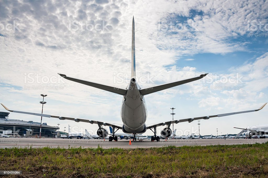 Airplanes on the apron of a large airport stock photo