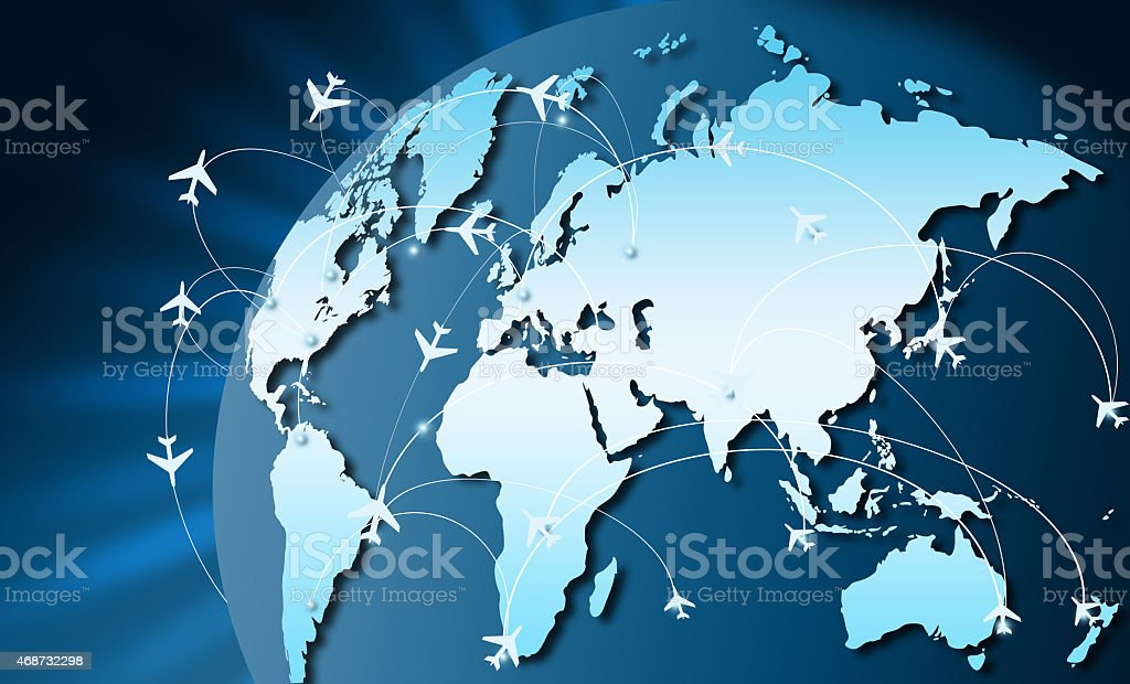 Airplanes on their destination routes stock photo