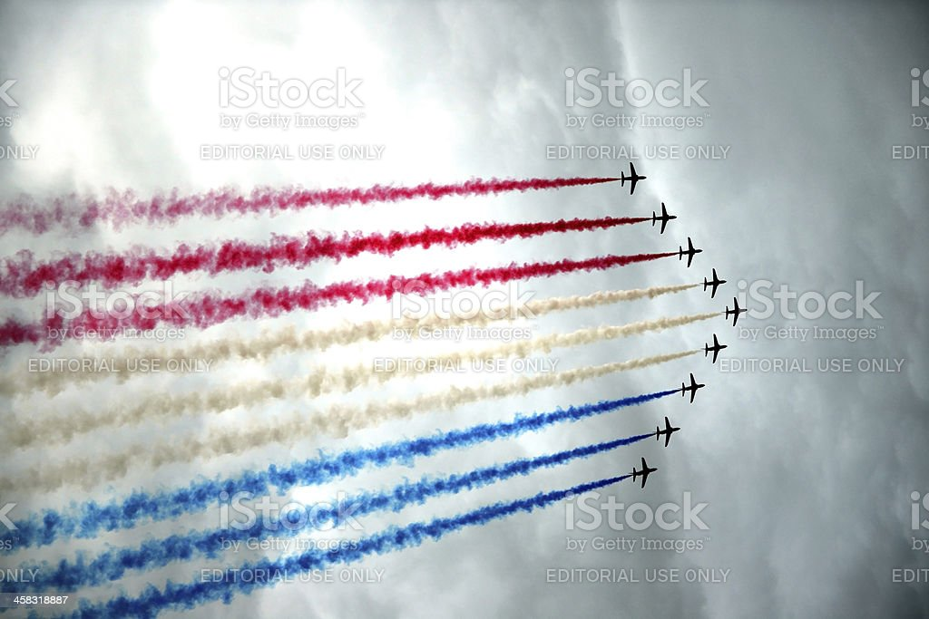 Airplanes - Red Arrows in Formation royalty-free stock photo