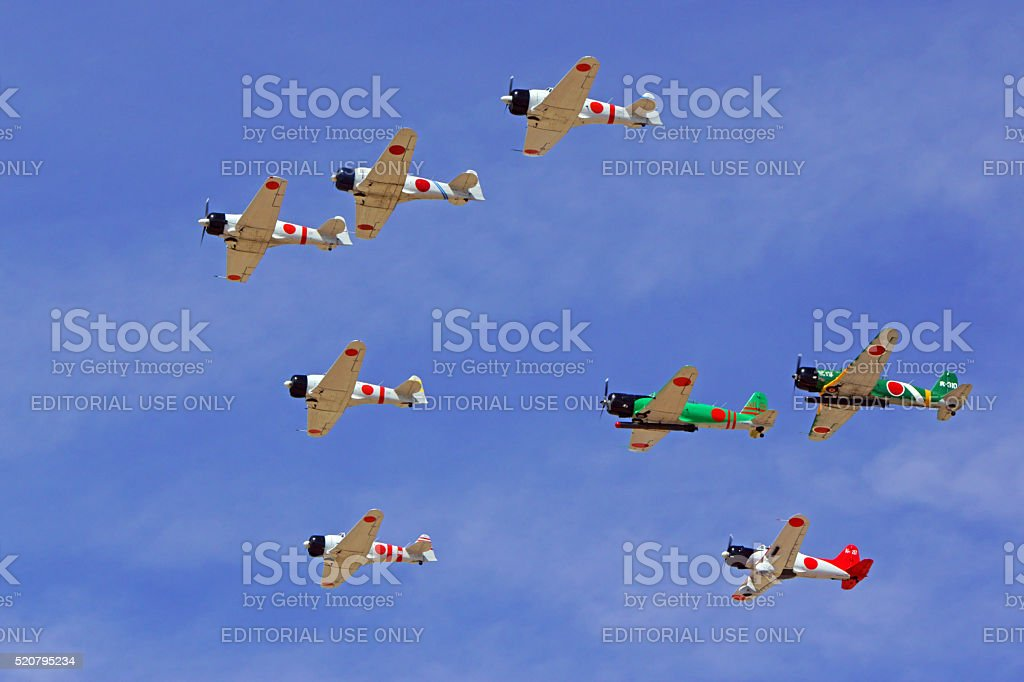 Airplanes vintage WWII Japan Fighters and Bombers stock photo