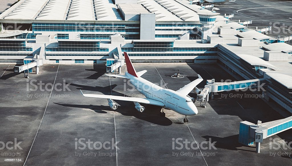 Airport and airplane stock photo