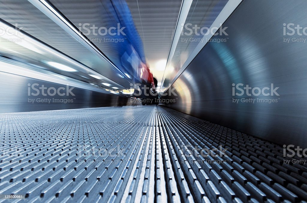 Airport and moving stairway royalty-free stock photo