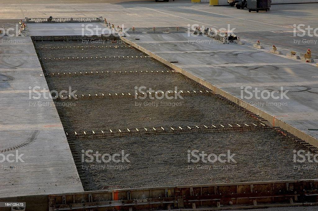 Airport Apron Concrete Reconstruction royalty-free stock photo