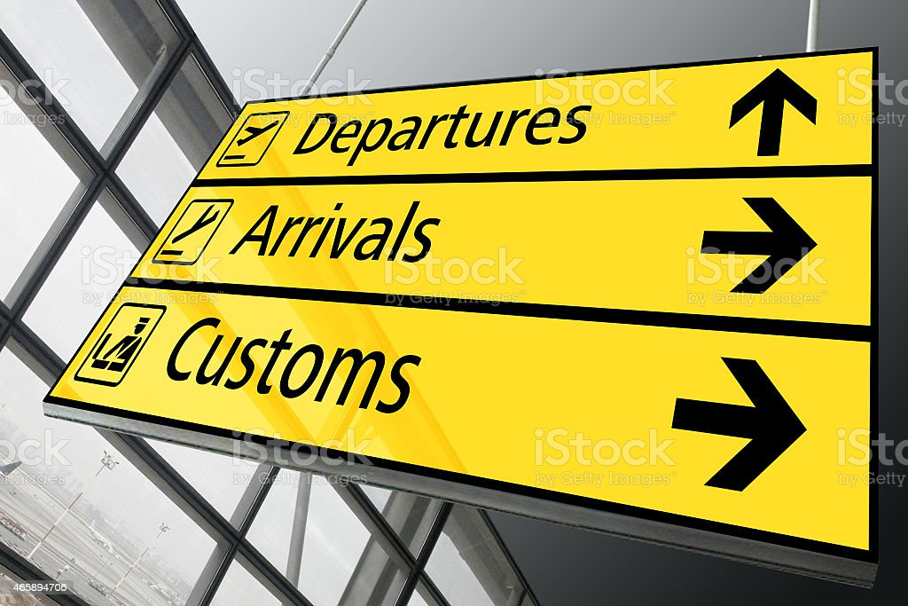 Airport arrival departure and customs sign stock photo